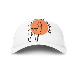 white baseball cap with Claireville Alpaca Logo