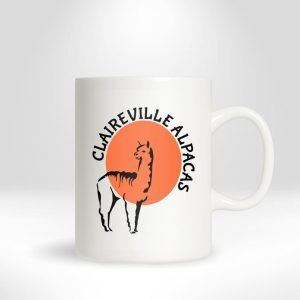 coffee cup with Claireville Alpaca Logo